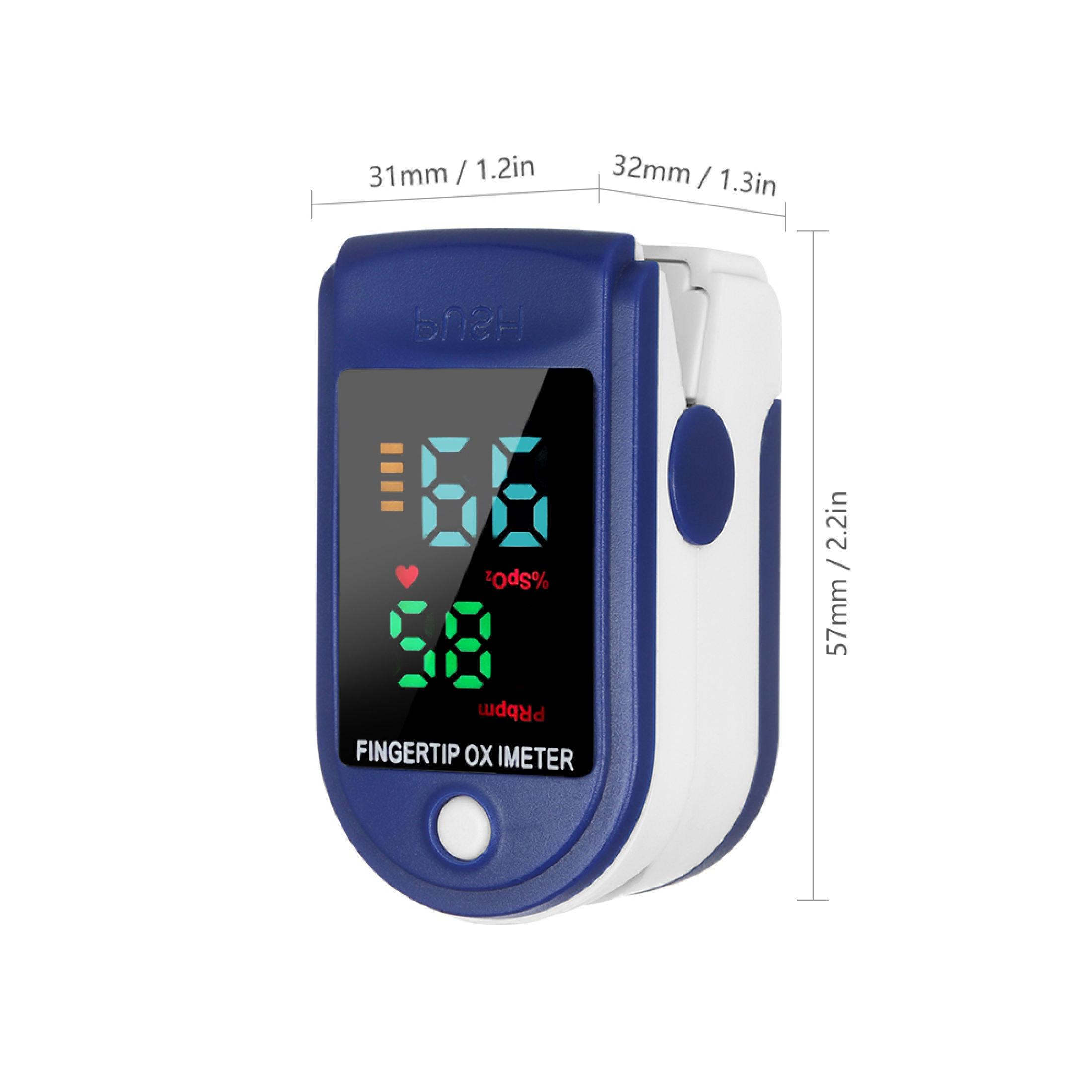 Máy Đo Nhịp Tim, Đo Nồng Độ Oxy Trong Máu Màn Hình Màu Tiện Lợi ,Nhỏ Gọn Tặng Kèm 2 Pin AAA ,1 Dây Đeo Tay 2
