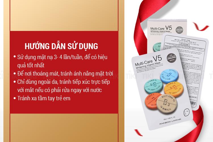 Hộp 10 Miếng Mặt Nạ Dưỡng Da Rainbow L'Affair Multi-Care V5 Whitening Vitamin Mask