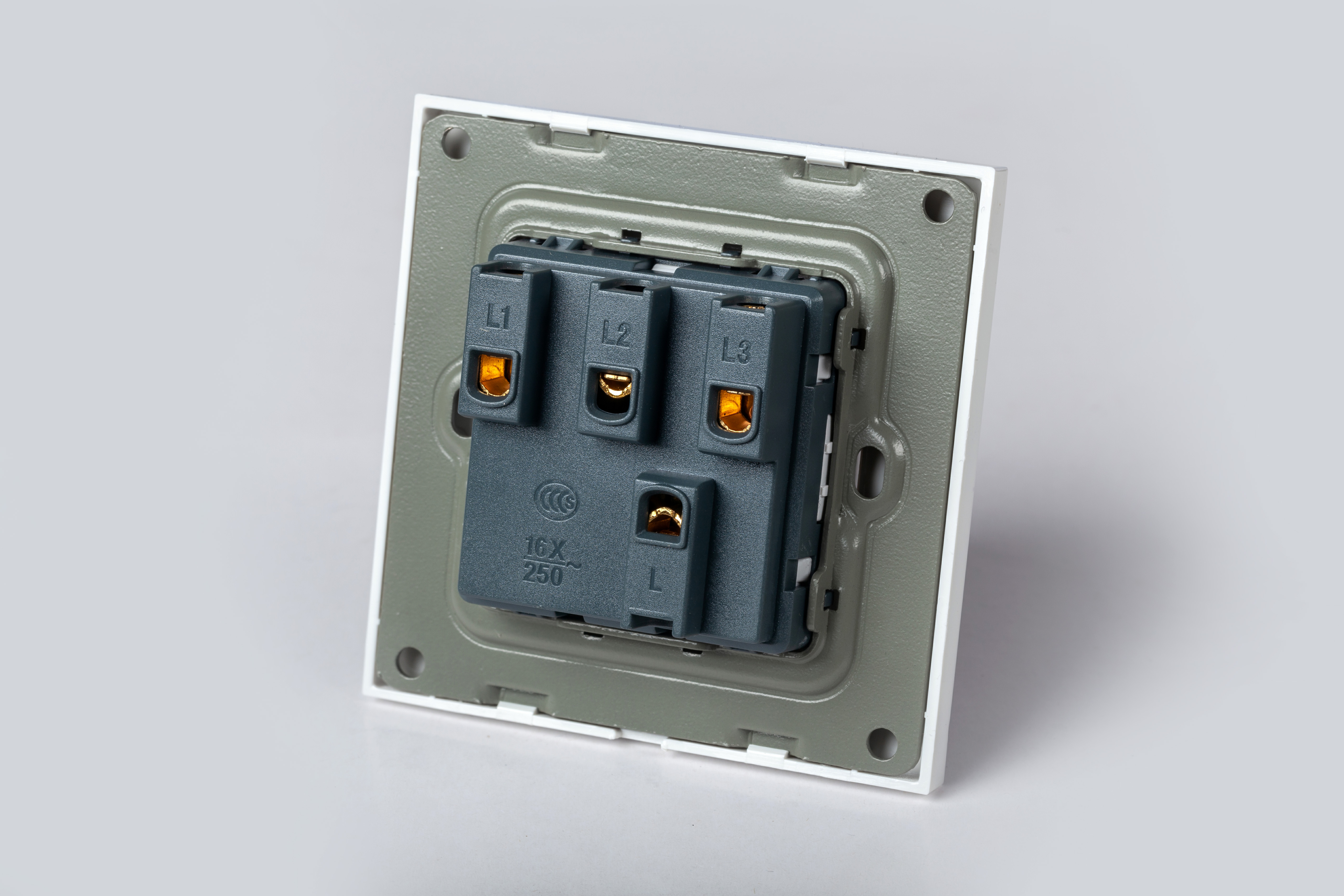 Công tắc điện đôi âm tường mặt vuông nhựa trắng kèm đế âm đơn LG-F21-002 - Hàng Chính Hãng