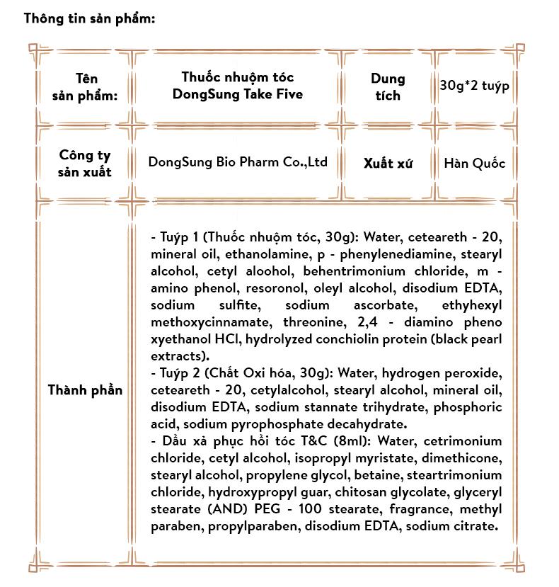 THUỐC NHUỘM TÓC 5 PHÚT HÀN QUỐC MÀU PHỦ BẠC TAKE FIVE 6 (MÀU NÂU ĐEN) 7