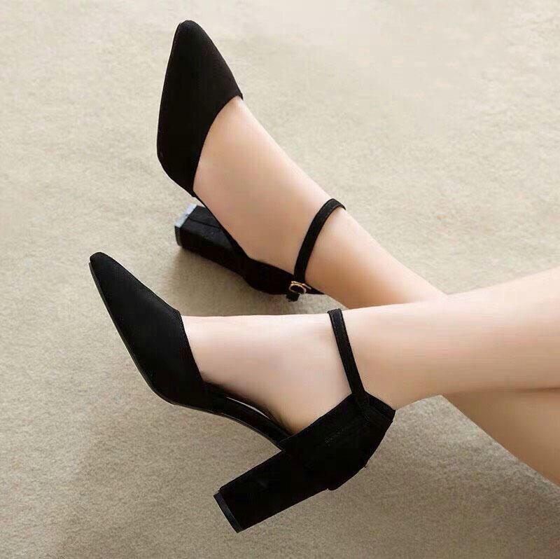 Giày Sandal Cao Gót Nữ Da Nỉ Cao Cấp Cài Quai Viền Đen Đế Vuông Cao 7p- CTG8504 2