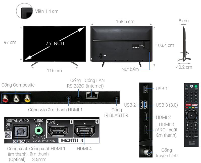 Android Tivi Sony 4K 75 inch KD-75X8000G - Hàng chính hãng