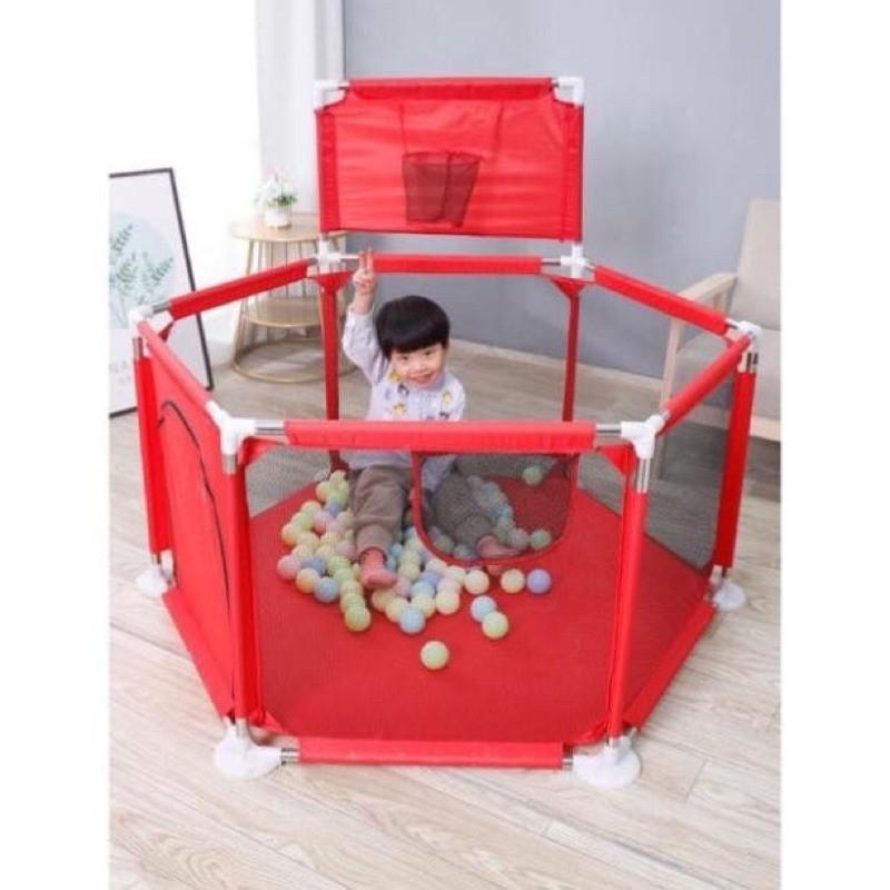 Quây bóng cho bé, Nhà bóng cho bé có GIỎ BÓNG GIỔ, Lều bóng lục giác khung inox 1,4m2 3
