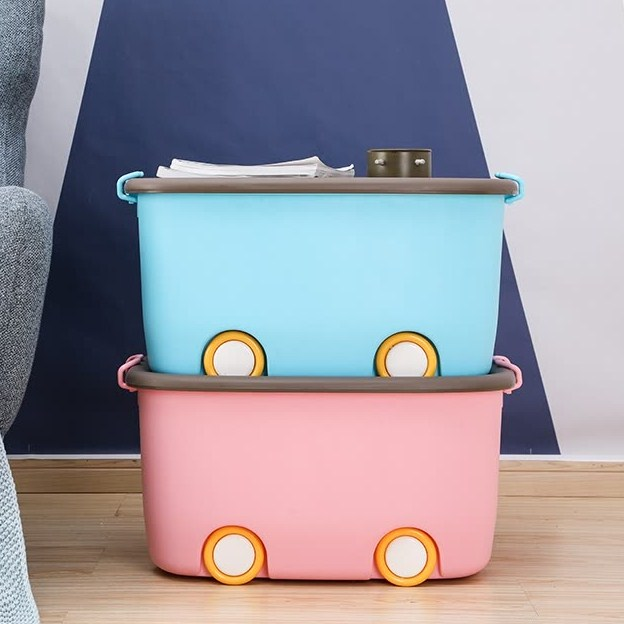 Van Gogh (VENGO) Children's Clothing Toy Storage Box Cartoon Q Fun Storage Box Storage Box About 30L 2 Pack Blue