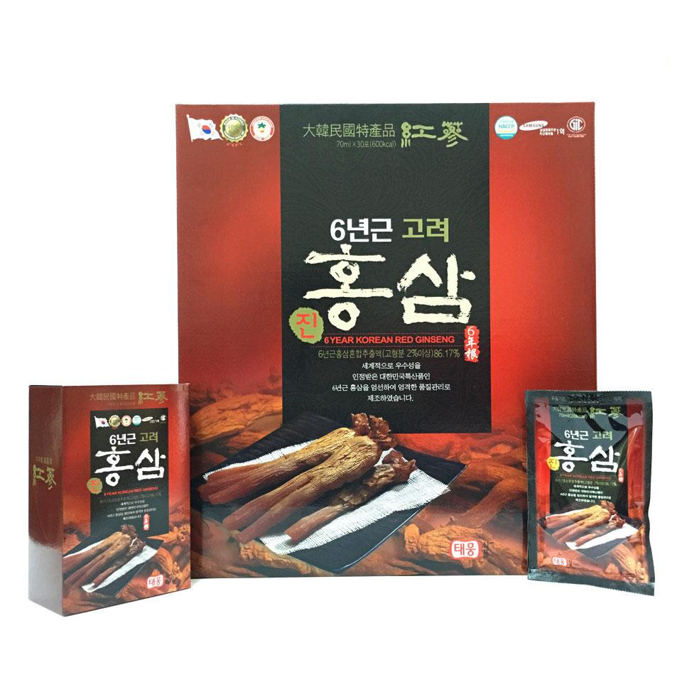 Thư c phâ m bô sung nước uô ng hồng sâm 6 tuô i Taewoong Food Ha n Quô c (Hộp 30 gói) 1
