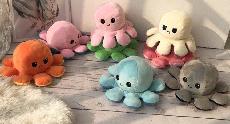 Gấu bông bạch tuộc cảm xúc có 2 mặt khác nhau nhiều màu 1