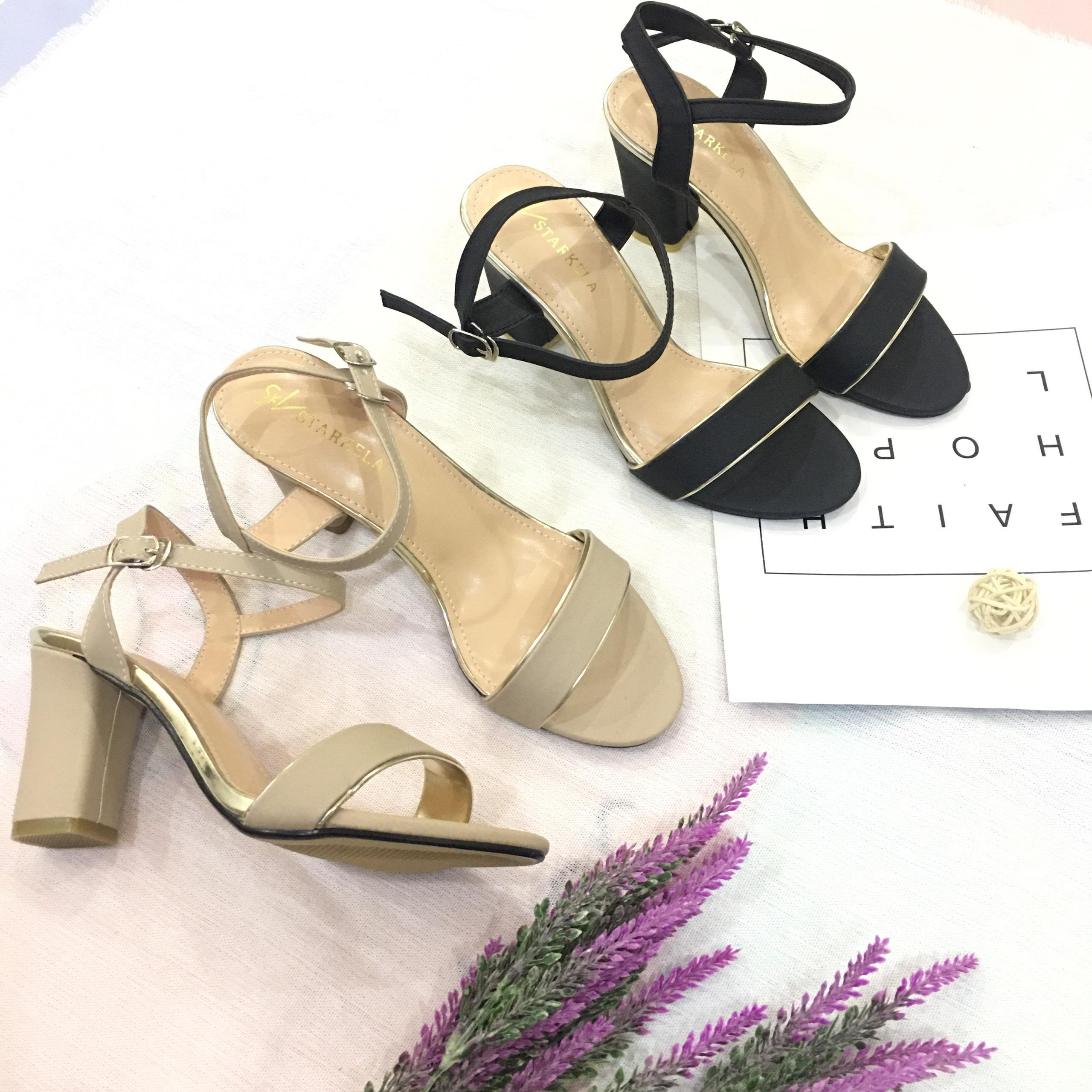 Sandal nữ quai ngang viền nhũ đế 7cm hàng VNXK cao cấp S71 1