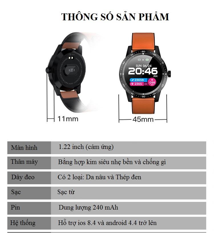 Đồng hồ thông minh đo nhịp tim, huyết áp T5 ( Sang trọng, độc đáo ) - Hàng Nhập Khẩu- Dây silicone nâu 6
