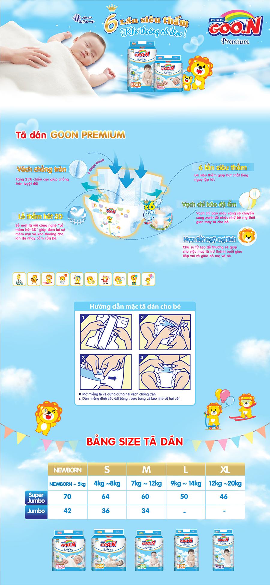 Tã Dán G Premium Gói Cực Đại Newborn NB70 (70 Miếng)