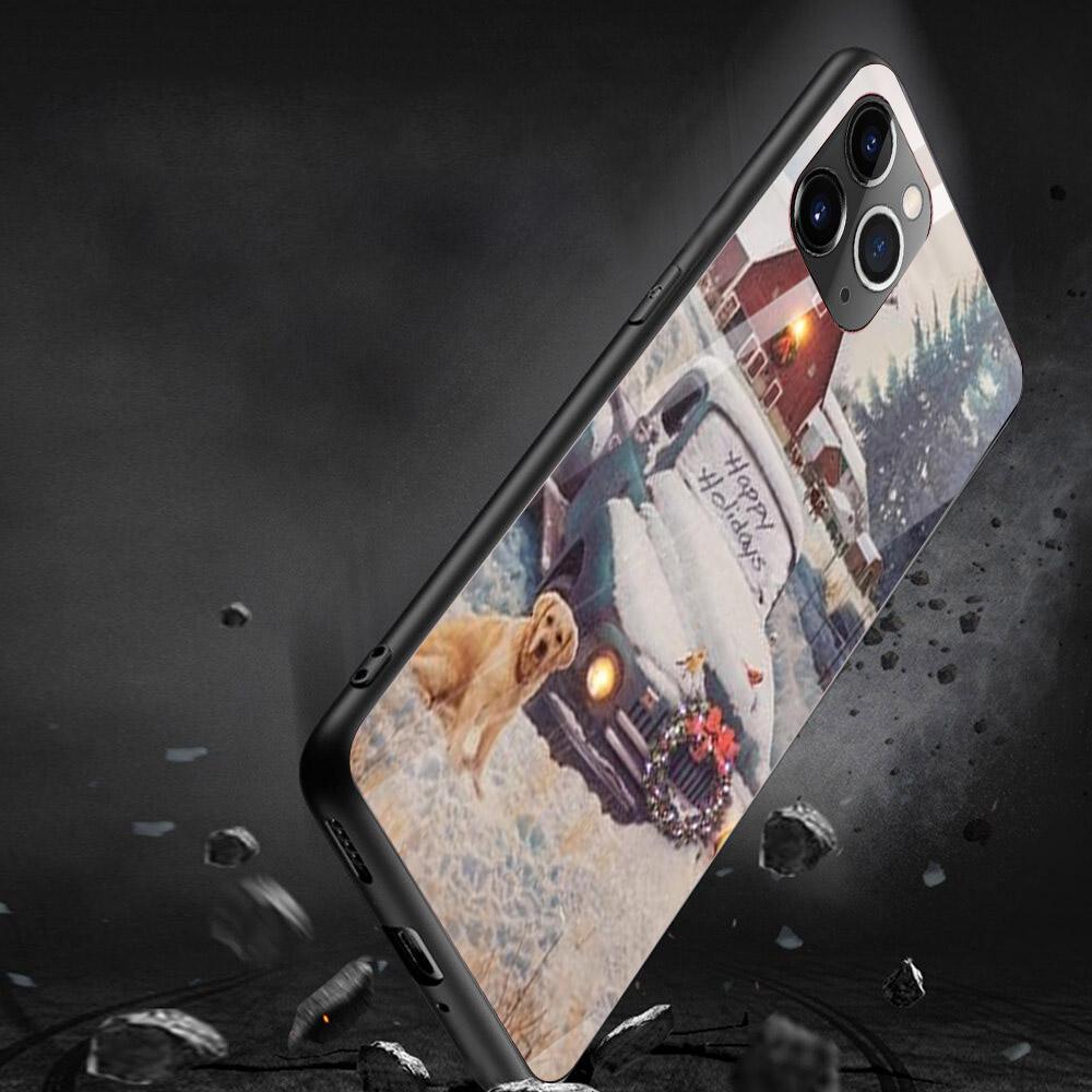 Ốp kính cường lực cho điện thoại iPhone 11 Pro Max Pro Max Pro Max - giáng sinh đầm ấm MS GSDA007
