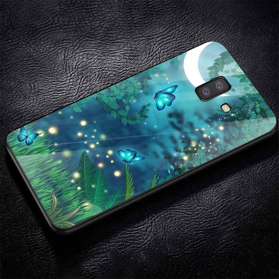 Ốp kính cường lực cho điện thoại Samsung Galaxy J8 - bướm đẹp MS BUOMD069