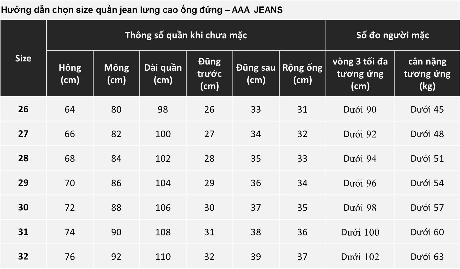 Quần Jean Nữ Ống Đứng Lưng Cao Aaa Jeans Có Nhiều Màu Size 26 - 32 9