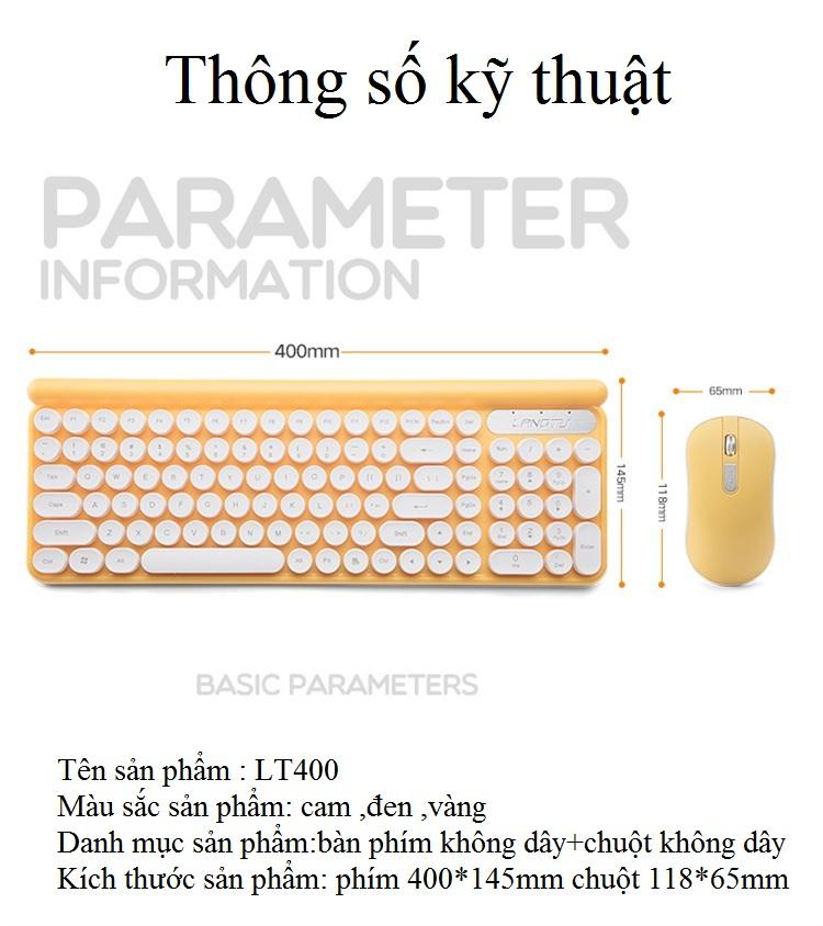 Bộ bàn phím và chuột không dây LT400 phiên bản sạc (tặng kèm lót chuột) - Hàng Nhập Khẩu 5