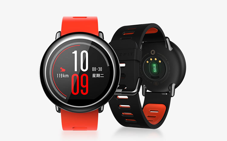 AMAZFIT smart sports watch Huami technology produced ceramic bezel GPS real-time track red silicone wristband support iOS, Android system