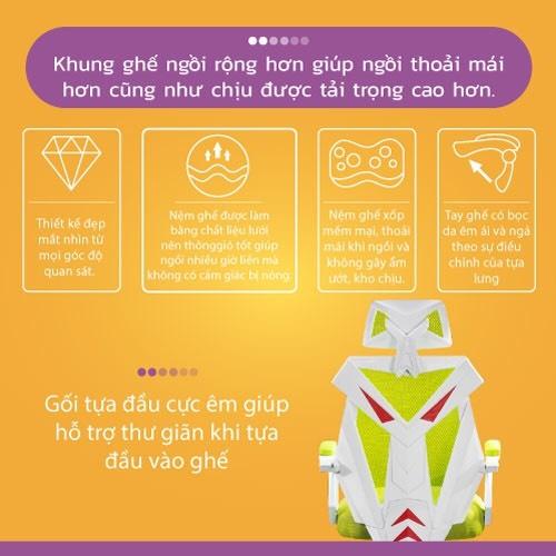 Ghế chơi game cao cấp, chân xoay ngã 135 độ dành cho game thủ có gối tựa đầu mẫu E03 Thái Lan (Hàng nhập khẩu) 15
