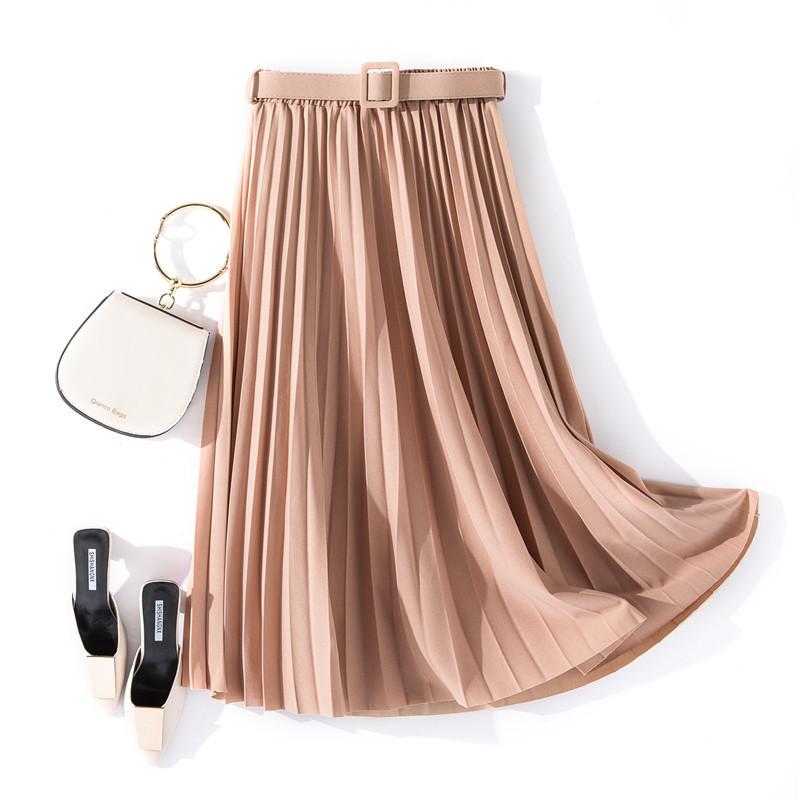 Chân váy xếp ly dáng dài có đai chất vải không nhăn Free size (VAY36) 3