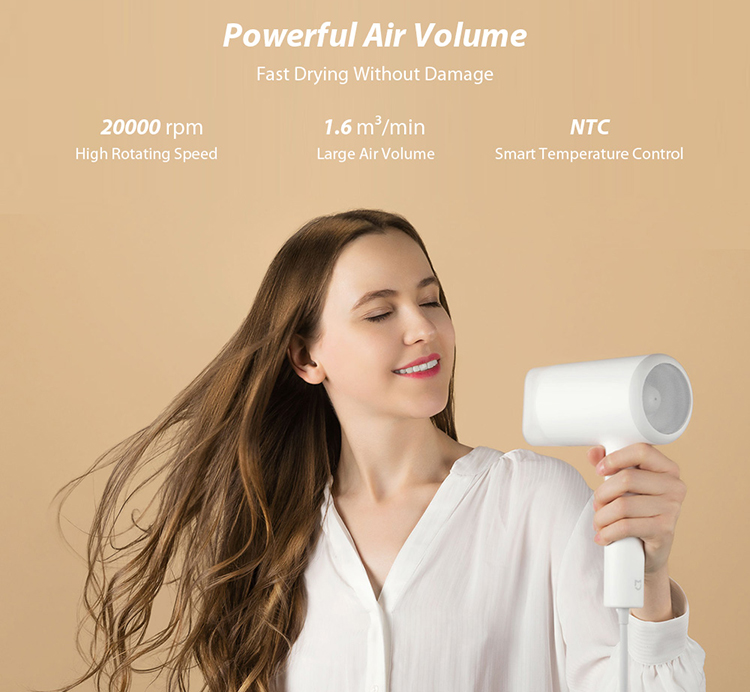 Xiaomi Mijia Electric Hair Dryer Water Ion Quick Dry 1800W High Power Three-gear Adjustment Temperature Portable Hair - White