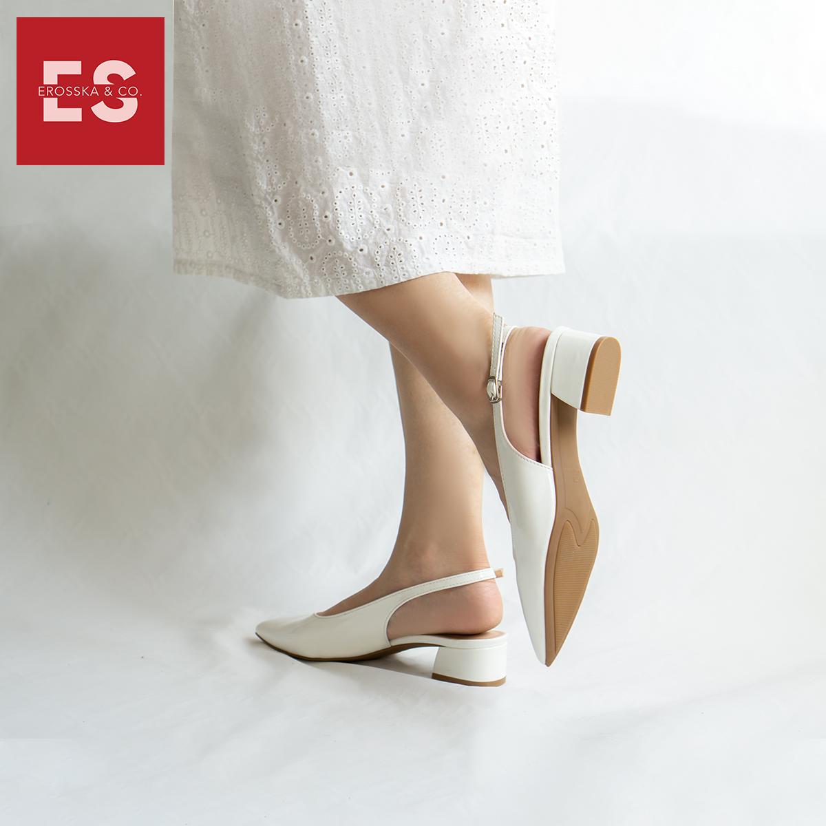 Giày cao gót slingback Erosska mũi nhọn da bóng kiểu dáng basic cao 4cm - EL012 7