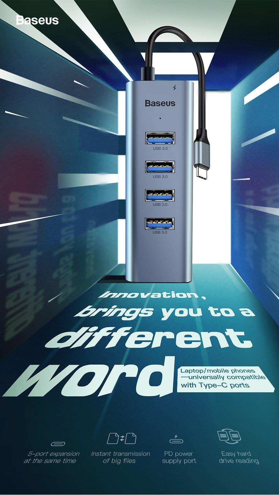 Hub cho Smartphone/ Table/ Laptop/ Macbook (5.0 Mbps) - Hub chuyển cổng Type C to 4 Port USB 3.0 + Type C Power Delivery - Baseus Enjoy Series - Hàng Chính Hãng