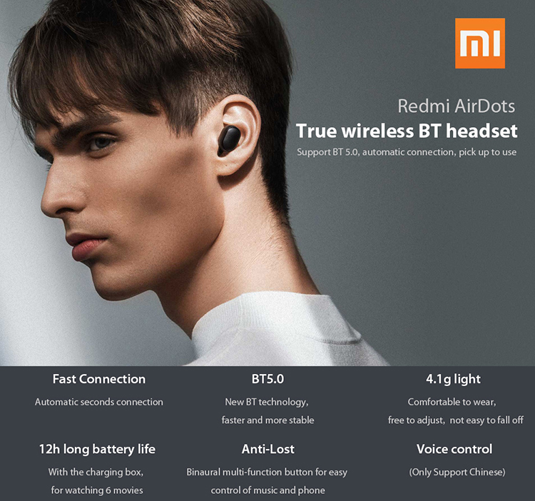 Xiaomi Redmi AirDots Mini Dual V5.0 Wireless Earphones BT Earphones 3D Stereo Sound Earbuds with Dual Microphone and - Black
