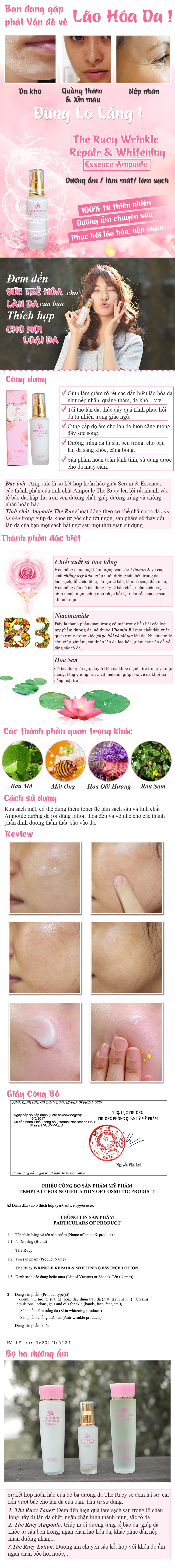 Tinh Chất The Rucy Wrinkle Repair & Whitening Ampoule LK-AW (50ml)