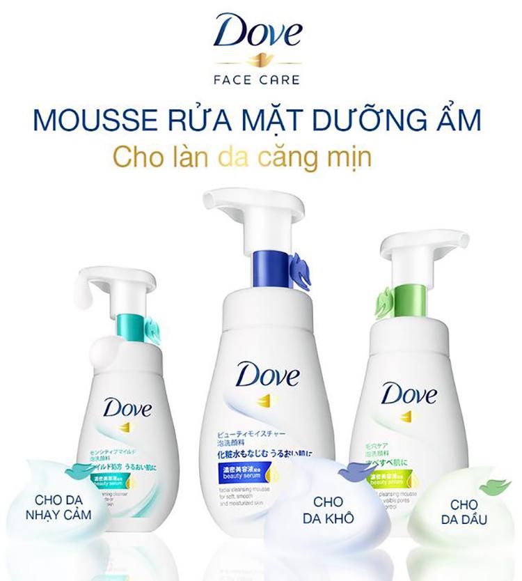 Sữa Rửa Mặt Dạng Bọt Dove Tinh Chất - Serum Cho Da Nhạy Cảm 160Ml