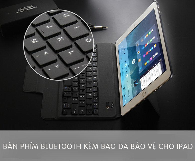 Bàn phím Bluetooth cho iPad Mini 5 kèm bao da - Hàng xịn