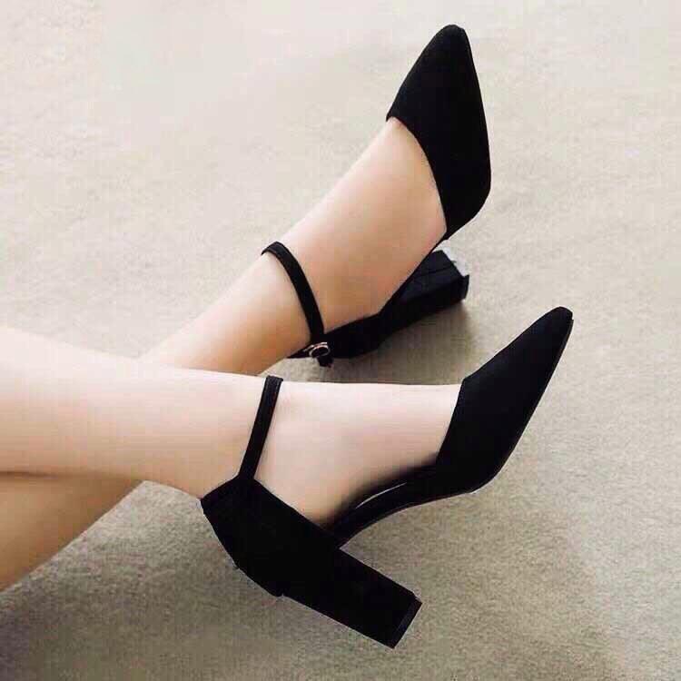 Giày Sandal Cao Gót Nữ Da Nỉ Cao Cấp Cài Quai Viền Đen Đế Vuông Cao 7p- CTG8504 5