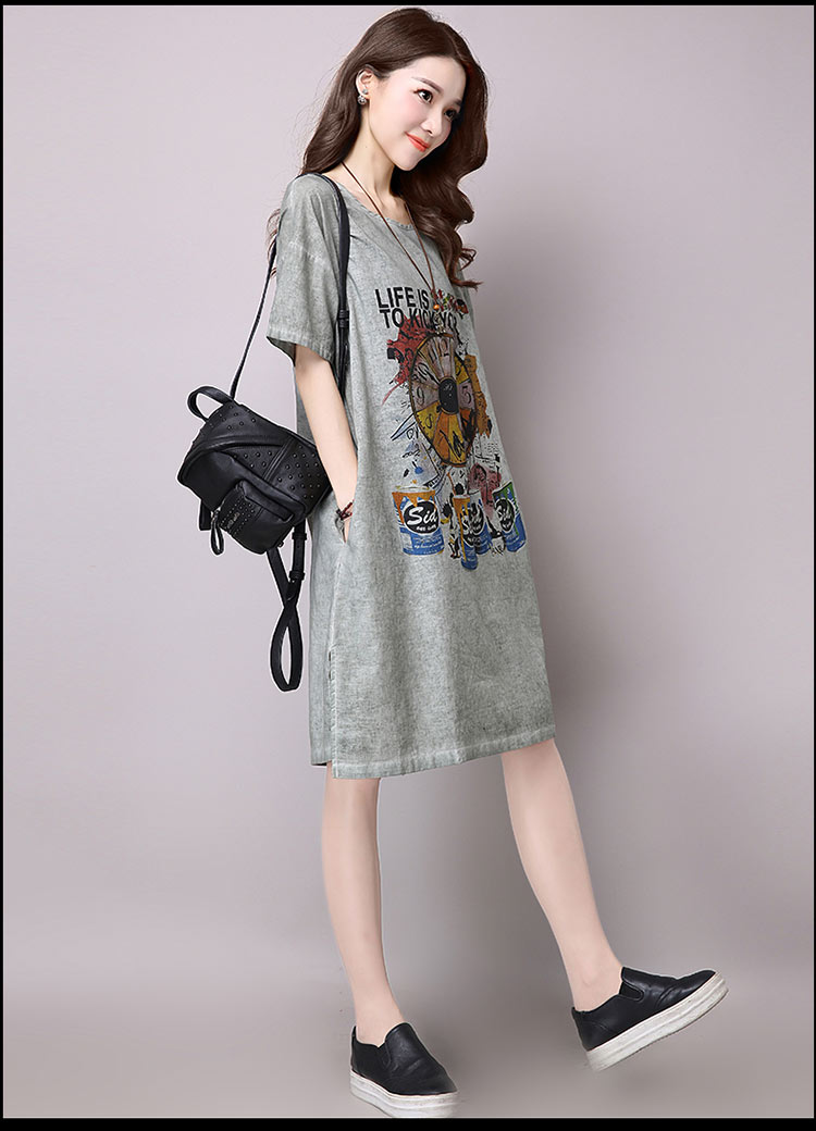Đầm suông dạo phố chất thô họa tiết LAHstore, chất liệu vải bông mềm họa tiết độc dạo, thời trang Hàn Quốc - Xanh xám - XXL 3