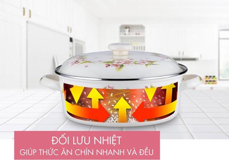 Nồi tráng men FUJIHORO 20cm, 2.3L (Hoa Hà Lan) SYM-22, Sử dụng bếp từ