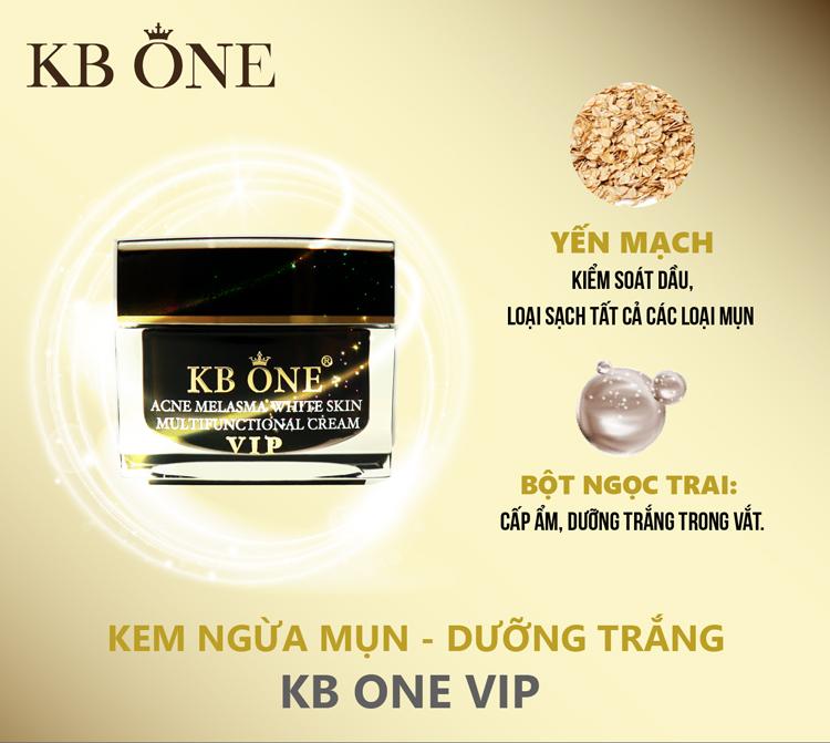 Kem Dưỡng Ngừa Mụn Trắng Da Kb One Vip Đen (50g)