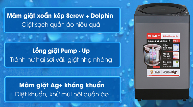 Máy giặt Sharp 9.5 kg ES-W95HV-S - Chỉ giao HCM