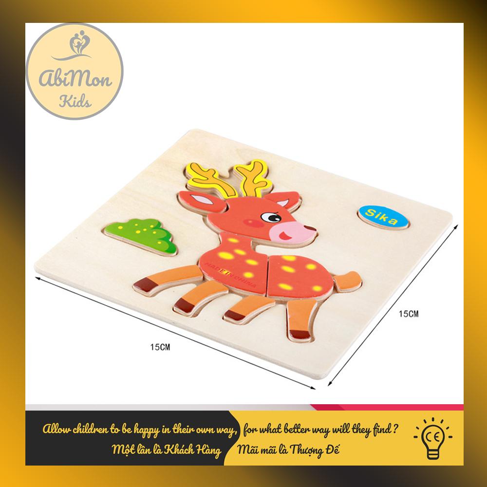 Tranh Ghép Hình Gỗ 3D Cho Bé (15x15 cm) Montessori cao cấp Đồ chơi Gỗ - Giáo dục - An toàn - Thông minh 4