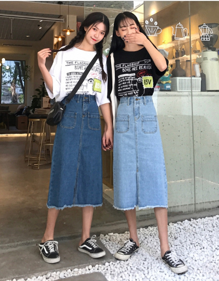 Chân váy JEAN nữ dáng dài dễ thương - CV09 1