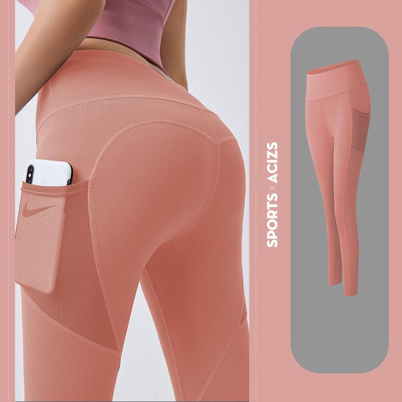 Quần thể thao nữ quần legging co giãn nhanh khô, túi hai bên phối lưới, quần yoga chạy bộ mã MTCK9016 7