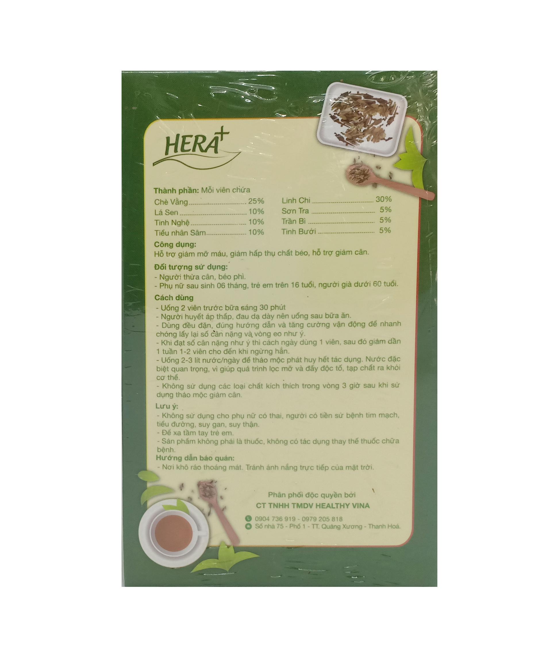 Thành phần trà thảo mộc giảm cân Hera plus