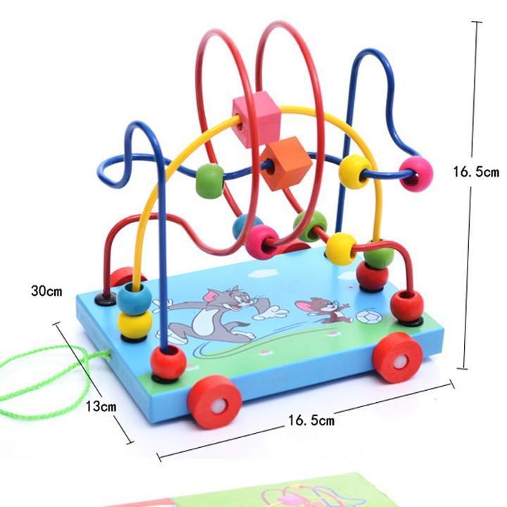 Đồ chơi xe gỗ, game xâu chuỗi luồn hạt gỗ, đồ chơi gỗ xâu chuỗi hạt rèn kỹ năng khéo léo cho bé giúp trẻ kích thích giác quan một cách toàn diện Tặng Kèm Móc Khóa 4Tech. 3