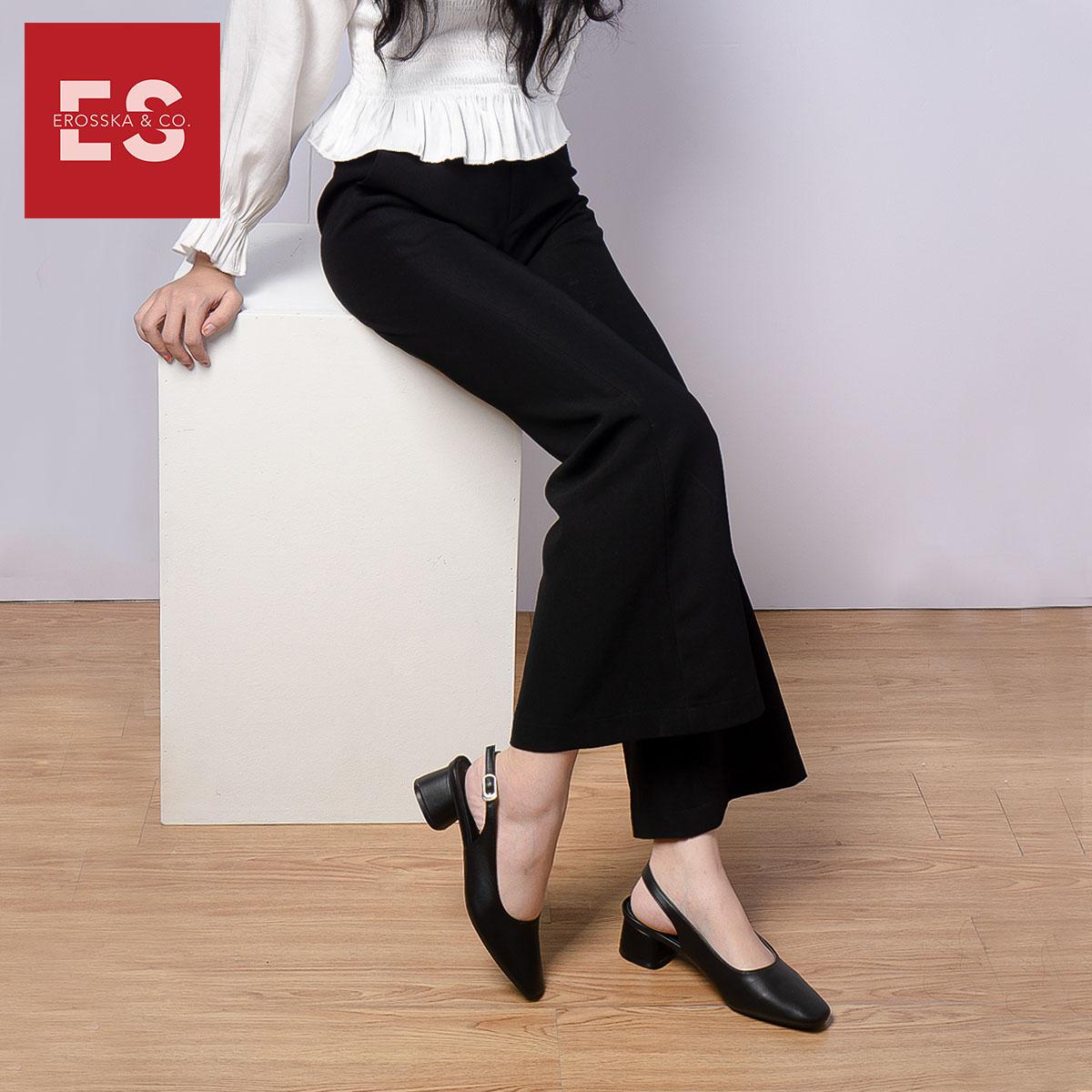 Giày nư , gia y cao gót slingback Erosska mũi vuông kiểu dáng basic gót vuông vững chắc cao 5cm - EL013 2