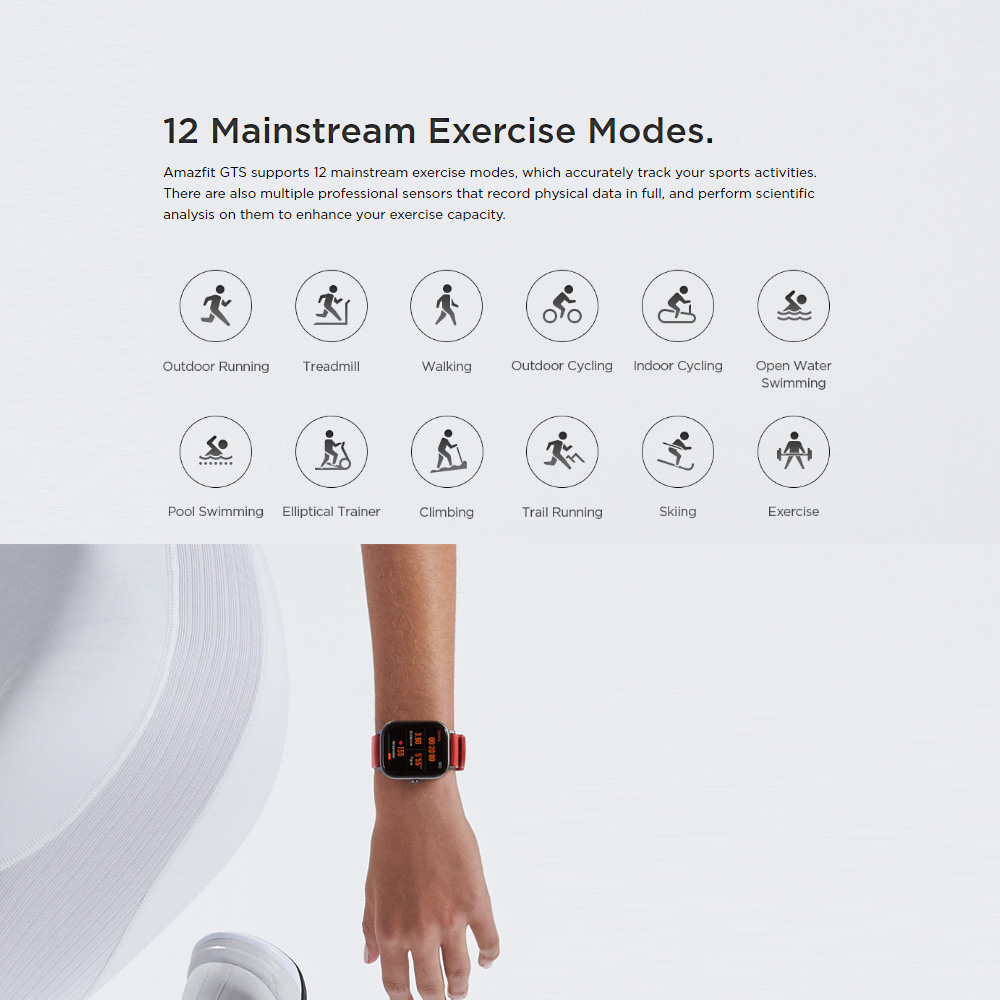 Global Version Amazfit GTS Smart Watch GPS 12 Sports Modes 5ATM Waterproof Swimming Smartwatch 14 Days Battery Music