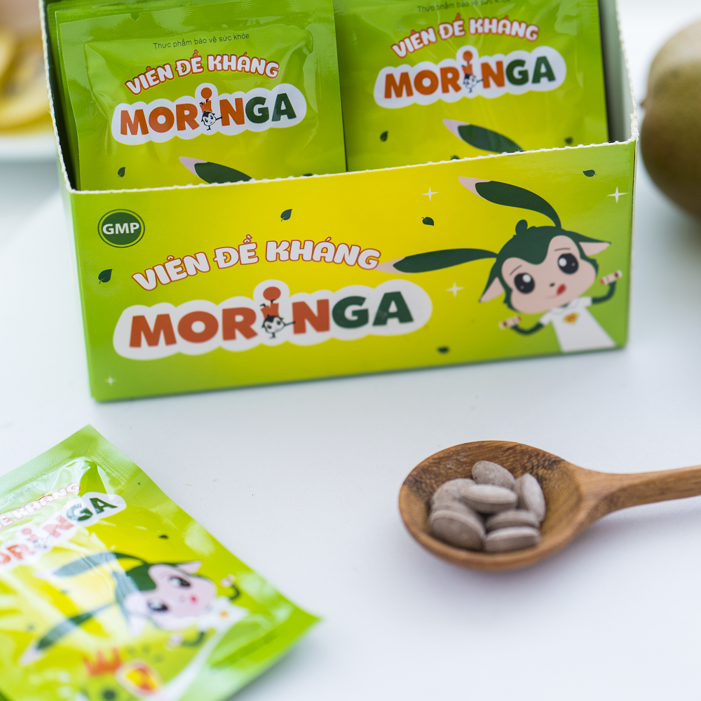 Viên đề kháng Moringa - Giúp tăng sức đề kháng, giảm nguy cơ mắc các bệnh đường hô hấp cho trẻ em - Hộp 8 gói 3