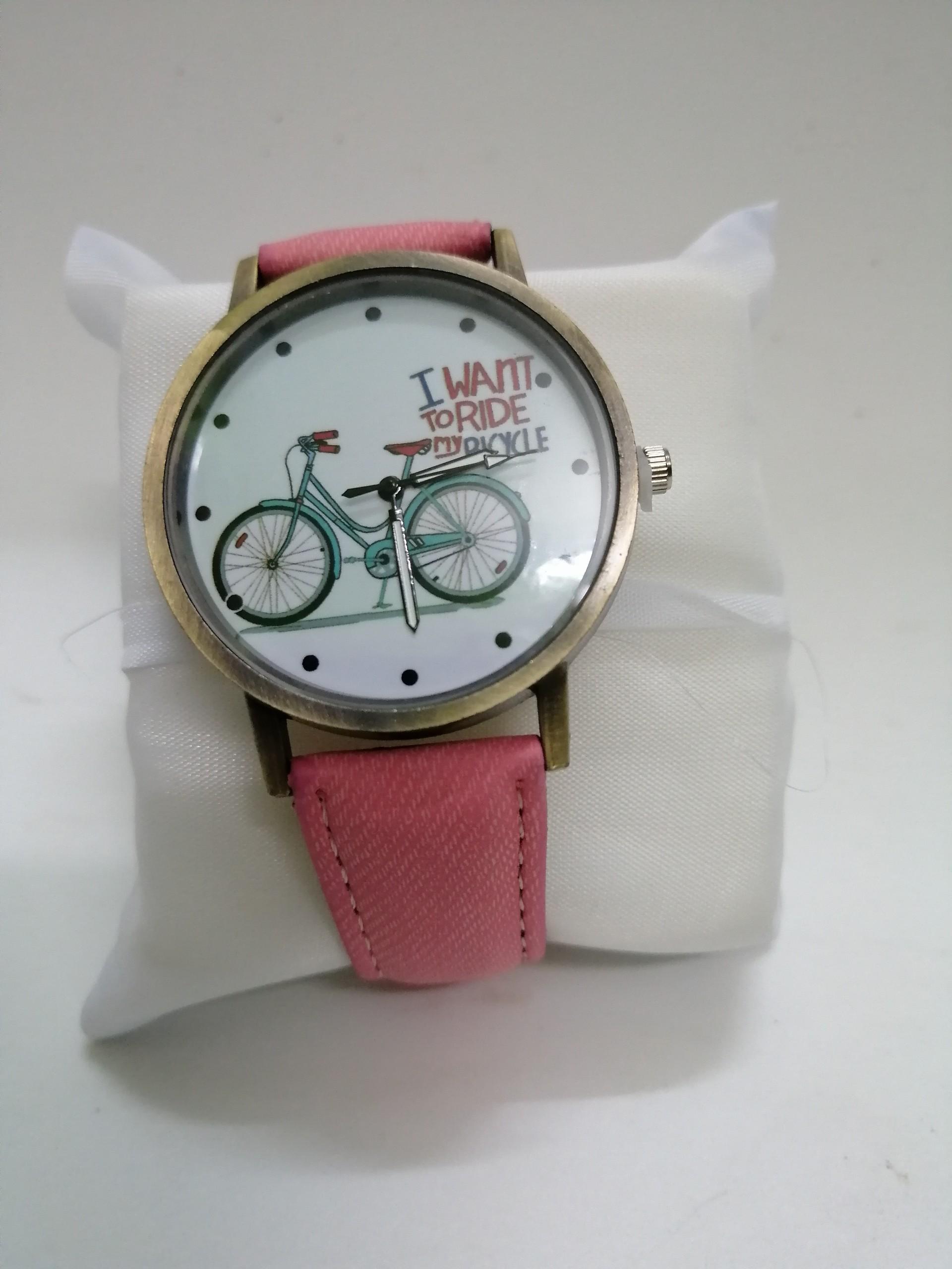 Đồng hồ quartz nữ dây da mặt in hoạ tiết xe đạp