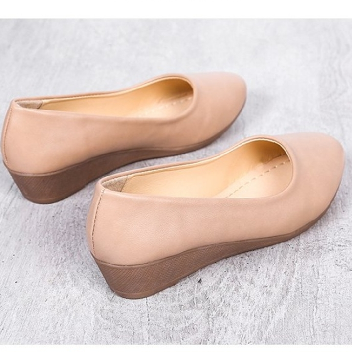 Giày nữ bít mũi đế xuồng cao 3cm kiểu trơn da lì siêu nhẹ siêu mềm C26n có ảnh thật 10