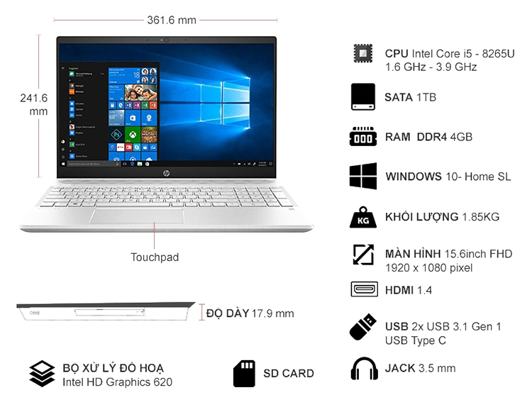 Laptop HP Pavilion 15-cs1008TU 5JL24PA Core i5-8265U/Win10 (15.6