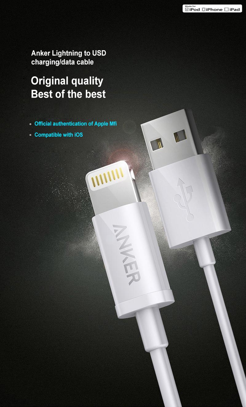 Dây Sạc ANKER A7101621 Được Chứng Nhận MFi Cho Iphone5 / 6s / 7P / SE / Ipad Air Mini
