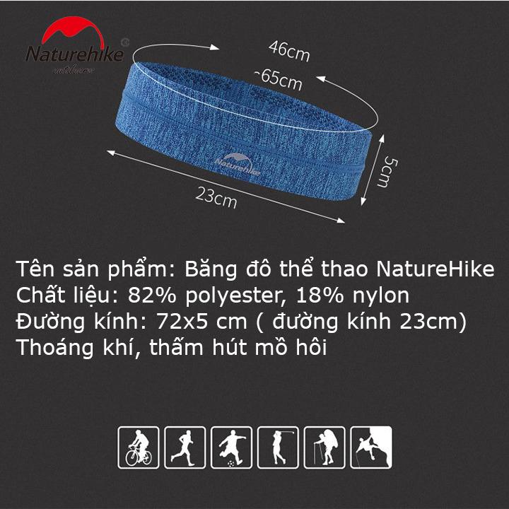 Băng đô Băng trán thể thao Headband NatureHike hàng chính hãng cho nam và nữ thấm hút mồ hôi nhanh 8