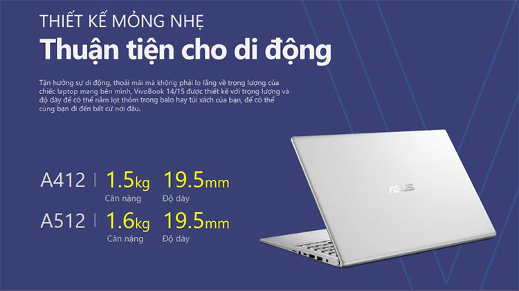 Laptop Asus Vivobook A512DA-EJ406T AMD R5-3500U/Win10 (15.6 FHD) - Hàng Chính Hãng