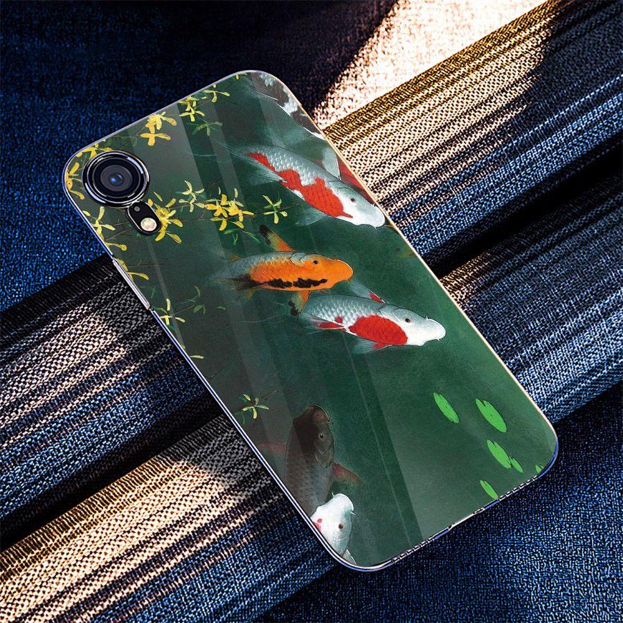 Ốp điện thoại kính cường lực cho máy iPhone XS MAX - cửu ngư quần hội MS CNQH014