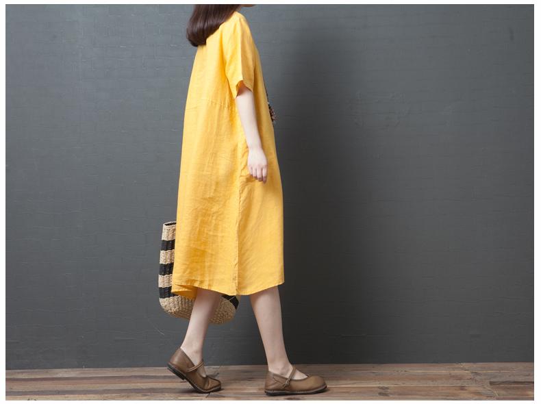 Đầm suông form rộng 2 túi sườn LAHstore, thích hợp mùa hè, thời trang trẻ, phong cách Hàn Quốc (Vàng) 4