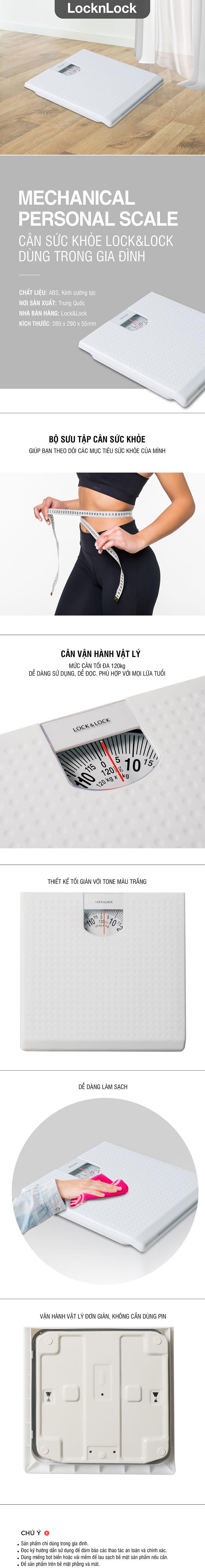 Cân Sức Khỏe Lock&Lock ENC536WHT Dùng Trong Gia Đình - 120kg