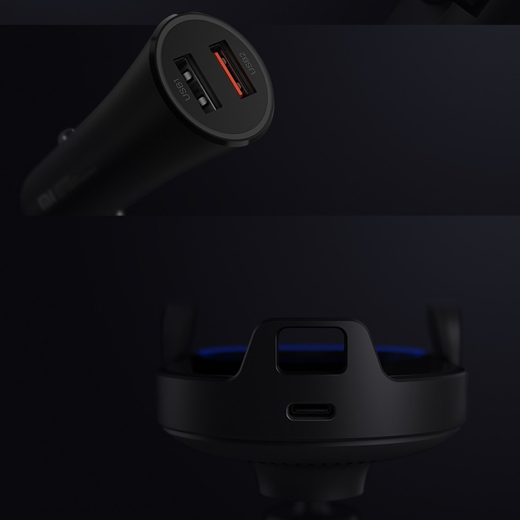 Xiaomi 20W Car Wireless Charger Auto clip for iPhone Xs MAX for Samsung Mi Fast Wireless Car Charger with Phone Holder Black